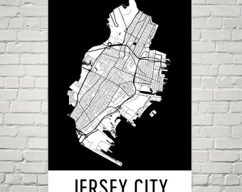 Jersey City Map, Jersey City Art, Jersey City Print, Jersey City NJ Poster, Jersey City Wall Art, Map of Jersey City, Jersey City Gift, Art