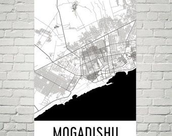 Mogadishu Map, Mogadishu Art, Mogadishu Print, Mogadishu Somalia Poster, Mogadishu Wall Art, Mogadishu Poster, Mogadishu Gift, Decor, Print