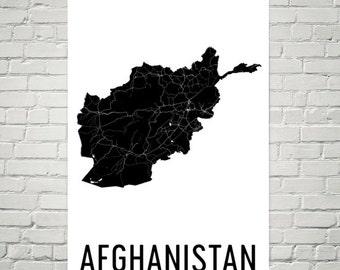 Afghanistan Map, Map of Afghanistan, Afghan Art, Afghanistan Poster, Afghanistan Wall Art, Afghanistan Poster, Afghanistan Gifts, Decor