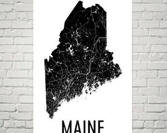 Maine Gifts, Maine Art, Maine Map, Maine Decor, Maine Wall Art, Maine Print, Maine Made, Maine Poster, Map of Maine, Maine Map Art