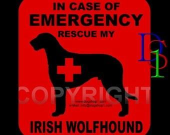 IRISH WOLFHOUND - Dog Sticker Decal -In Case of Emergency-