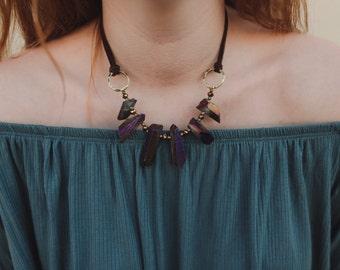 Crystal rock strand necklace-purple
