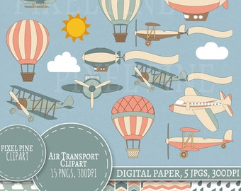 Air Transport Clipart Set, Commercial Use, Digital Paper and Transport Cliparts, 15 PNGs, 5 JPGs, Vintage Air clipart, Retro air clipart set