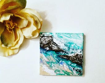 Mini Bright Colorful Blue Pink Rocks Waves Water Tide Beach Ocean Seascape Acrylic Painting Original-Rock n Roll