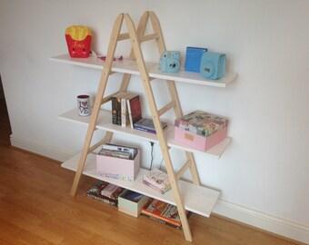 Wooden Ladder Shelf, Display, Bookshelf, Storage, Rustic Home Decor, Wood furniture, Home decor,