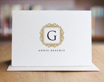 Personalized Stationery Note Card Set / Monogram Note Cards / Set of 10 Folded Shimmer Note Cards - NC8008
