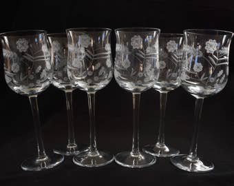 Beautiful Antique Etched Crystal Flower and Wheat Wine Glass Stem Set of 6