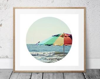 Beach Photography, Printable, Coastal Art, Digital Download, Beach Umbrella, Ocean