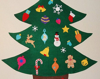 Felt  Tree,ready to Ship, has pocket and  27 Ornaments