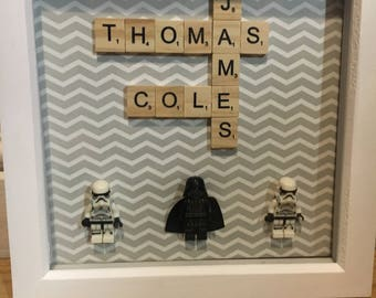 Personalised Lego Figure Scrabble Frame