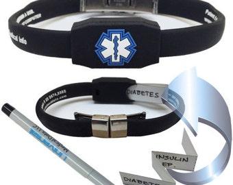 Medical Alert Bracelet Waterproof Messenger Series  – Blue or Black