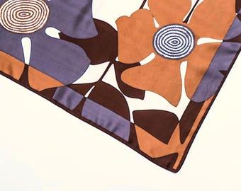 Vintage scarf, women's scarf, geometric scarf, 1960's print scarf, ladies neck scarf, retro scarf, boho scarf, mod scarf, graphic scarf