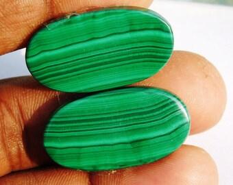 Matched pair malachite gemstone, Rare- malachite loose gemstone, Natural malachite cabochon gemstone, malachite loose stone 86 Cts. #451N
