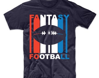 Retro Style Red White And Blue Fantasy Football T-Shirt
