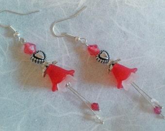 Valentine Angel Flower Earrings, Love Heart Earrings, Limited Edition