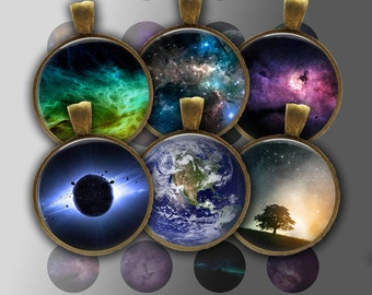 Digital Collage Sheet - Space, Universe, Galaxy, Cosmos, Planets #2 - Instant Download 20mm, 25mm, 30mm Printable Images For JewelleryMaking