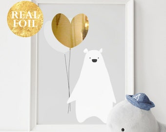 Grey Baby Nursery Art, Gold Silver Rose Gold Foil Print, Bear Poster, Kids Prints, Baby Gift, Baby Room, Small and Large Wall Art