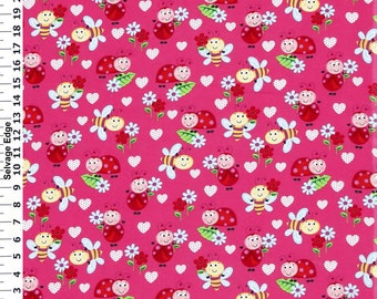 1.83 yards Blizzard Bugs & Hearts on Pink Flannel Fabric 44 Wide