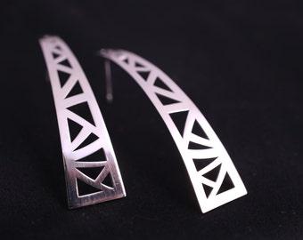 Luxury Sterling Silver Earrings, Long Geometric Lace Earrings, Silver Statement Earrings
