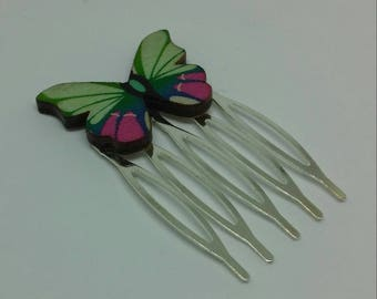 Comb with wood with beautiful colors Butterfly