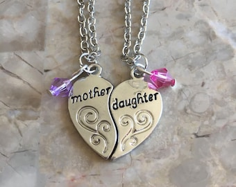 Mother and Daughter Heart Necklace