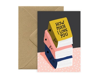 Card A6 - Love books - love card