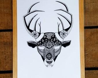 Deer illustration. Decoration. Design interiors. Geometry. Zen. Mandala.