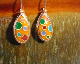 Yellow Teardrop with Circles - Enamel & Sterling Silver Earrings