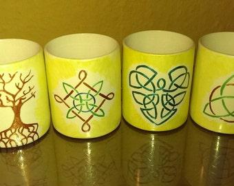 4 espresso set Celtic motifs