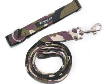 Army camo dog collar with optional matching lead