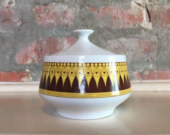 Oslo Norleans Sugar Dish // Brown and Yellow Graphic Covered Sugar Dish // 1970's