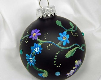 Painted Ornament. Hand Painted Ornament. Floral Ornament. Glass Ornament. Christmas Ornament
