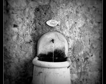 Provence Water Fountain Digital Art; French art; black and white art; modern minimalist art; travel photography art; gallery wall art