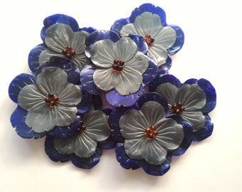 Silver and purple flower decoration plate-7 pieces