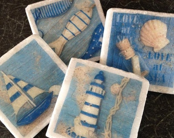Nautical! Set of 4 Marble Coasters