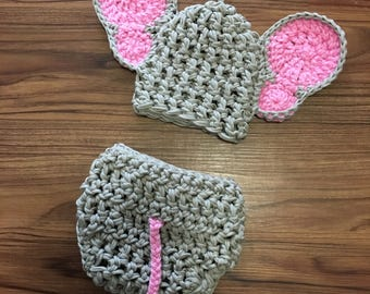 Elephant diaper cover with matching hat