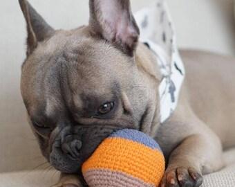 Organic Cotton Crochet Dog Ball Toy - Orange - Handmade