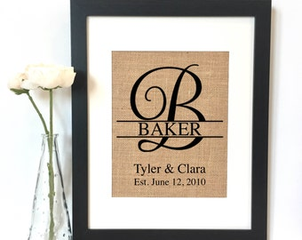 Elegant Monogram Burlap Print // Personalized Wedding Gift // Custom // Wedding // Anniversary Gift // Rustic Home Decor