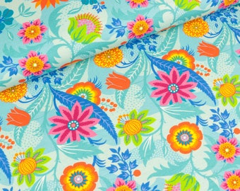 Cotton Jersey flora flower magic on light Turquoise (13.20 EUR / meter)