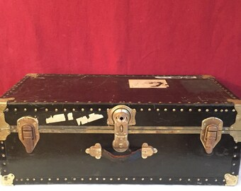 Vintage Steamer Trunk 1960's , Vintage Luggage, Original Hardware, Military History, FREE SHIPPING IN U.S.A.