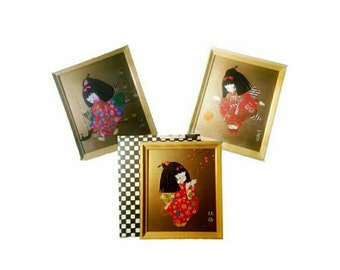 Set of 3: Vintage Japanese Wall Art Prints | Japan Wall Art | 1970s Framed Art | Rice Paper Decor | Wall Hanging Decor | Asian Home Decor