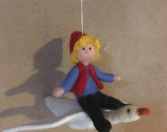 Nils Holgersson with Goose by hand felted felt figure mobile organic Merino Wool