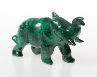 Malachite crystal elephant figurine