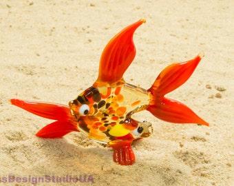 Glass figurines Fish Zodiac symbol Pisces Blown glass Fish sculpture Glass figure Fish Glass figurine Glass Figure gift Home decor Lampwork