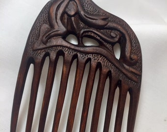 "Unique Hand Carved Wooden Hair Comb ""Mermaid"""