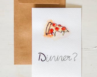 Watercolor postcard Pizza Dinner