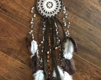 Doily Dreamcatcher. Vintage doily, vintage lace Dreamcatcher boho Dreamcatcher with lots of natural beads .