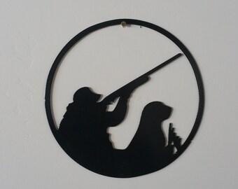 Hunter with dog metal art, hunting dog, hunting metal art, duck hunter art, hunter metal art, duck hunting art