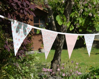 Pink Blue Cotton Bunting, Double Sided Fabric Bunting, Wedding Bunting, Country Garden, Floral Bunting, Girls Bunting, Shower Party Bunting