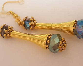 Gold Plated & Crystal Long Earrings